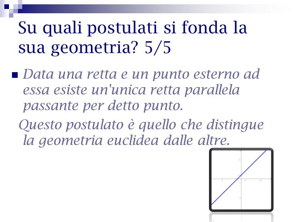 Su quali postulati si fonda la sua geometria? 5/5 Data una retta e un punto esterno ad essa esiste un'unica retta parallela passante per detto punto.
