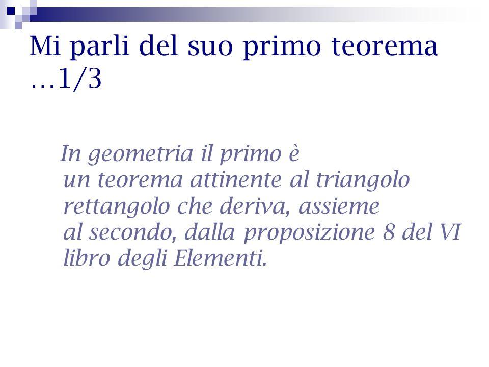 Mi parli del suo primo teorema …1/3 In geometria il primo è un teorema attinente al triangolo rettangolo che deriva, assieme al secondo, dalla proposi