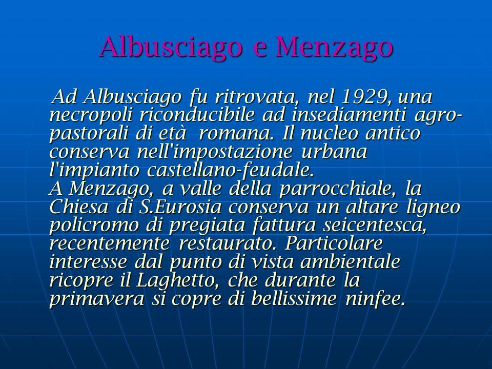 Albusciago e Menzago Ad Albusciago fu ritrovata, nel 1929, una necropoli riconducibile ad insediamenti agro- pastorali di età romana.