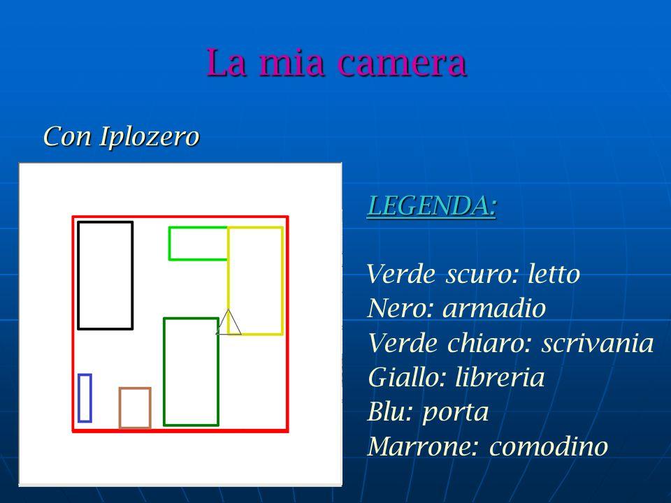 Con Iplozero LEGENDA: LEGENDA: Verde scuro: letto Nero: armadio Verde chiaro: scrivania Giallo: libreria Blu: porta Marrone: comodino