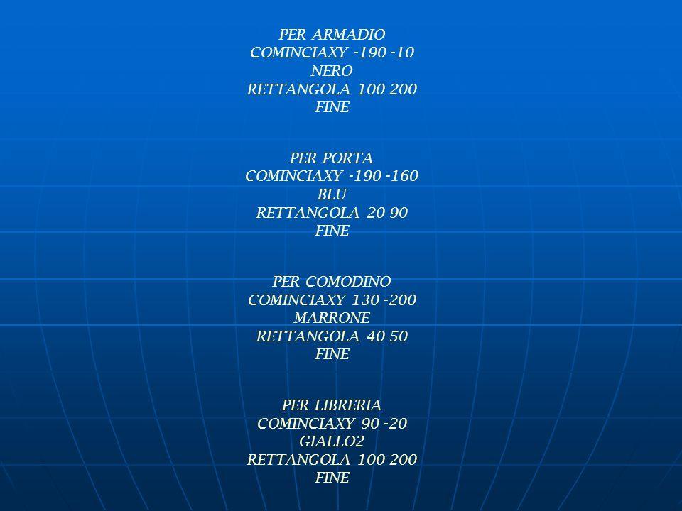 PER ARMADIO COMINCIAXY -190 -10 NERO RETTANGOLA 100 200 FINE PER PORTA COMINCIAXY -190 -160 BLU RETTANGOLA 20 90 FINE PER COMODINO COMINCIAXY 130 -200 MARRONE RETTANGOLA 40 50 FINE PER LIBRERIA COMINCIAXY 90 -20 GIALLO2 RETTANGOLA 100 200 FINE