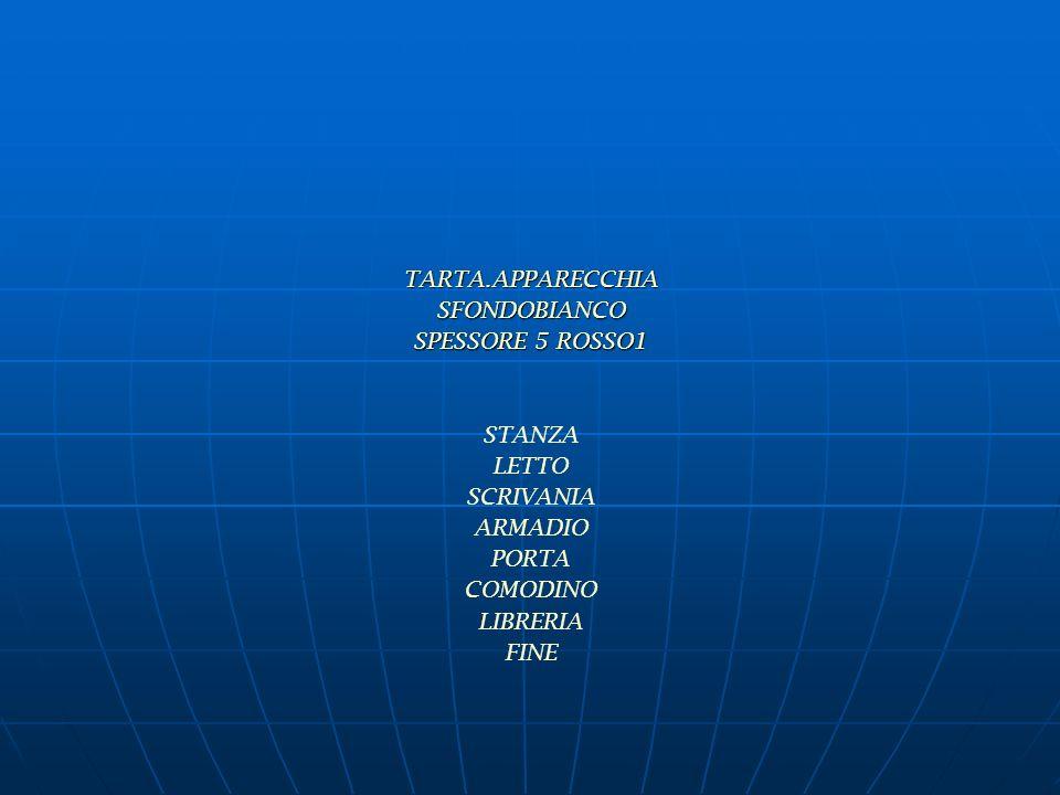 TARTA.APPARECCHIASFONDOBIANCO SPESSORE 5 ROSSO1 STANZA LETTO SCRIVANIA ARMADIO PORTA COMODINO LIBRERIA FINE