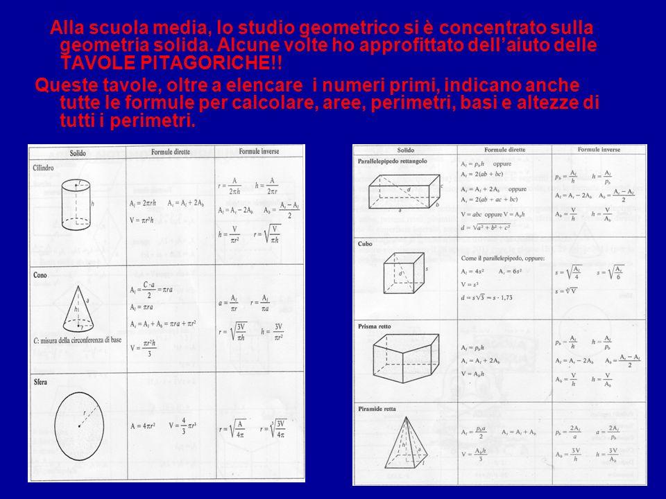 Alla scuola media, lo studio geometrico si è concentrato sulla geometria solida.
