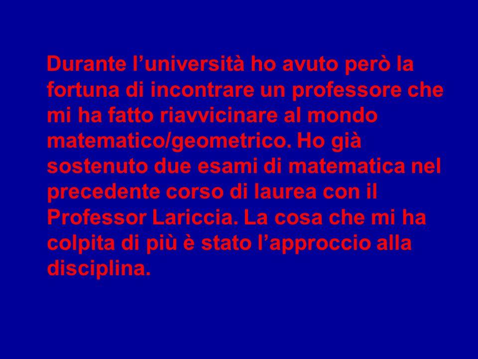 Durante luniversità ho avuto però la fortuna di incontrare un professore che mi ha fatto riavvicinare al mondo matematico/geometrico.