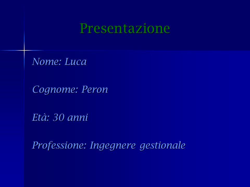 Presentazione Presentazione Nome: Luca Cognome: Peron Età: 30 anni Professione: Ingegnere gestionale