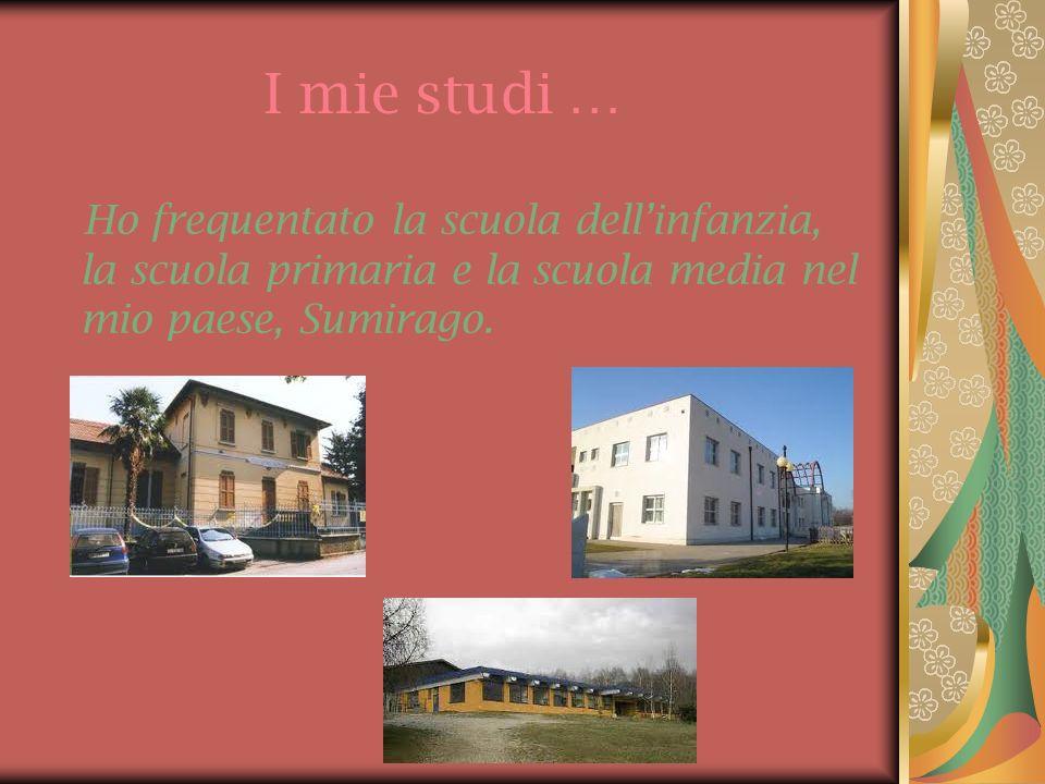 I mie studi … Ho frequentato la scuola dellinfanzia, la scuola primaria e la scuola media nel mio paese, Sumirago.
