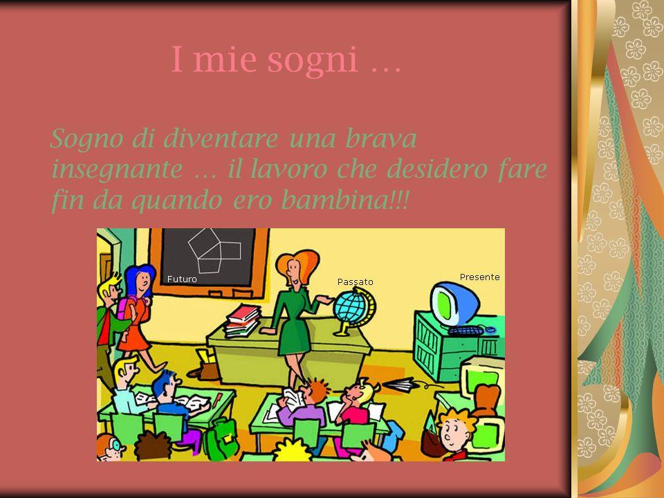I mie sogni … Sogno di diventare una brava insegnante … il lavoro che desidero fare fin da quando ero bambina!!!