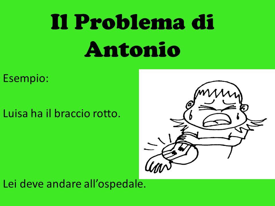 Il Problema di Antonio Esempio: Luisa ha il braccio rotto. Lei deve andare allospedale.