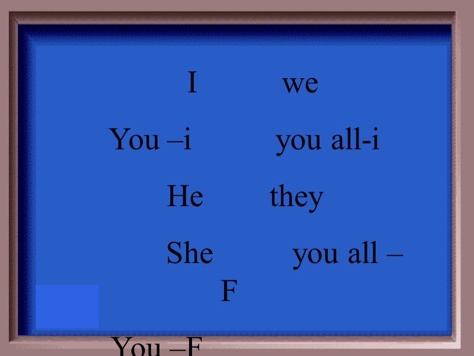 Io=___ noi =___ Tu=___ voi=___ Lui=___ loro=__ lei=____ Loro=___ Lei=___