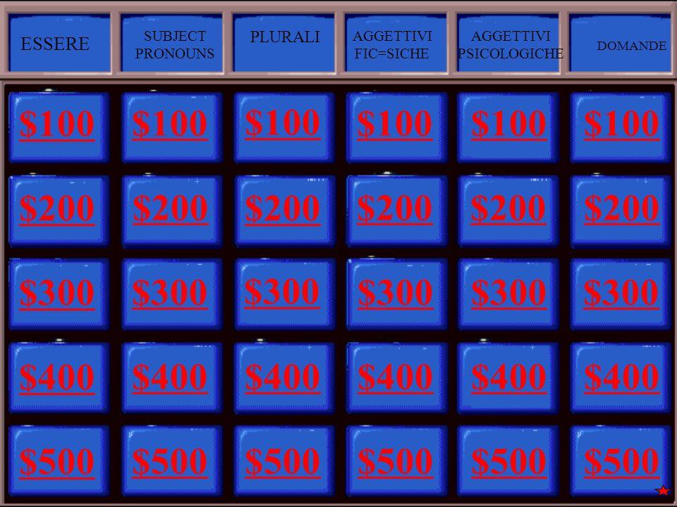 $100 $200 $300 $400 $500 $100 $200 $300 $400 $500 $100 $200 $300 $400 $500 $100 $200 $300 $400 $500 $100 $200 $300 $400 $500 $100 $200 $300 $400 $500 ESSERE SUBJECT PRONOUNS PLURALI AGGETTIVI FIC=SICHE AGGETTIVI PSICOLOGICHE DOMANDE