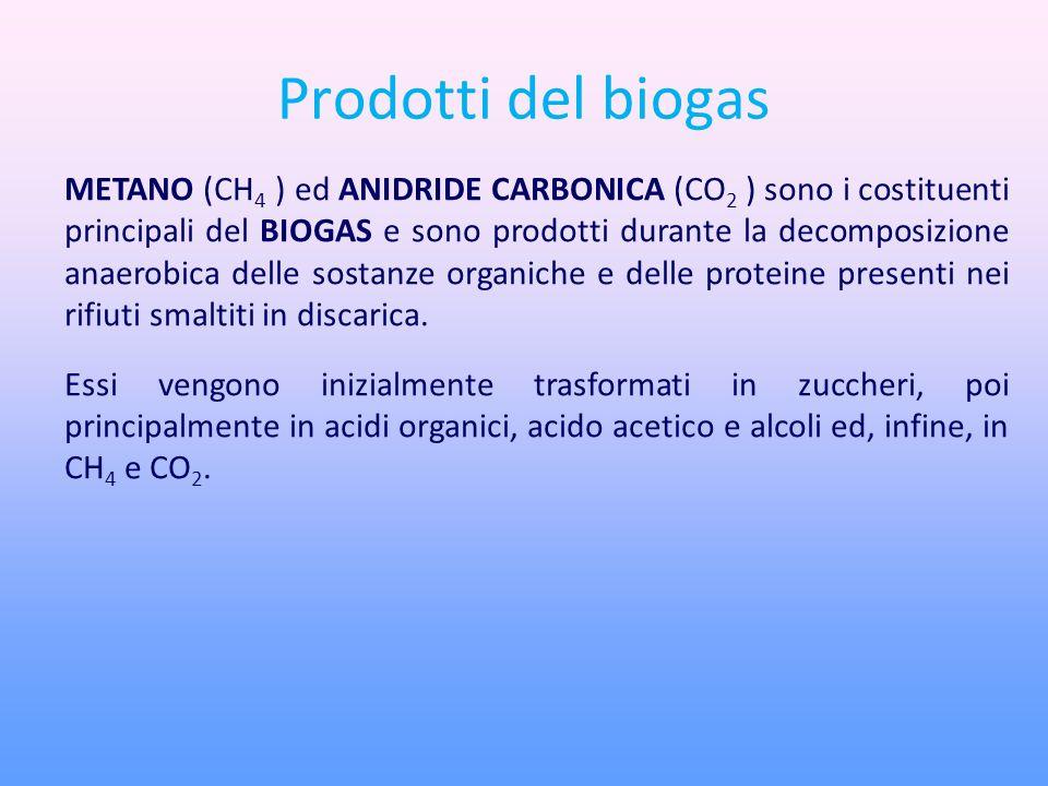 Prodotti del biogas METANO (CH 4 ) ed ANIDRIDE CARBONICA (CO 2 ) sono i costituenti principali del BIOGAS e sono prodotti durante la decomposizione anaerobica delle sostanze organiche e delle proteine presenti nei rifiuti smaltiti in discarica.
