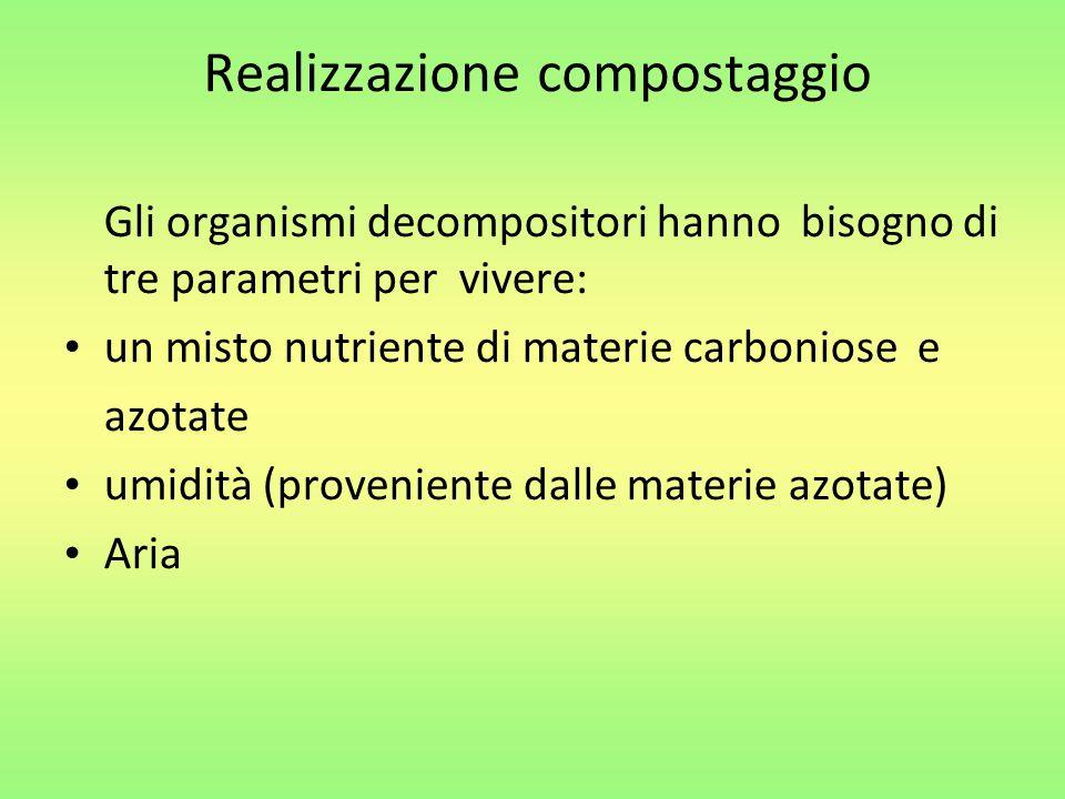 Gli organismi decompositori hanno bisogno di tre parametri per vivere: un misto nutriente di materie carboniose e azotate umidità (proveniente dalle materie azotate) Aria Realizzazione compostaggio