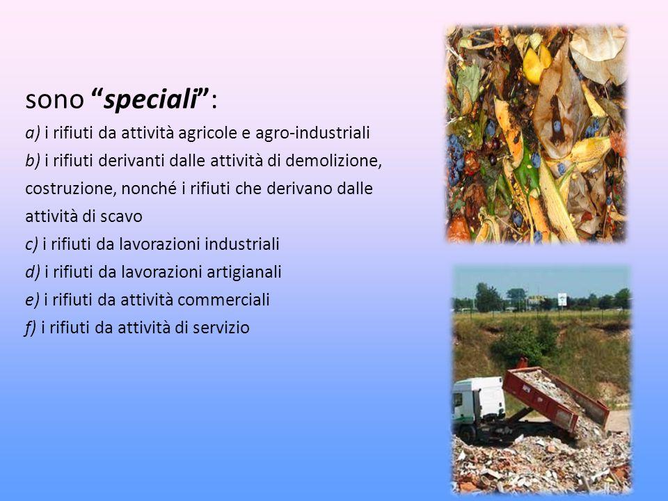 sono speciali: a) i rifiuti da attività agricole e agro-industriali b) i rifiuti derivanti dalle attività di demolizione, costruzione, nonché i rifiuti che derivano dalle attività di scavo c) i rifiuti da lavorazioni industriali d) i rifiuti da lavorazioni artigianali e) i rifiuti da attività commerciali f) i rifiuti da attività di servizio