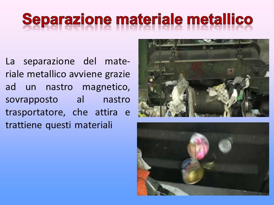 La separazione del mate- riale metallico avviene grazie ad un nastro magnetico, sovrapposto al nastro trasportatore, che attira e trattiene questi materiali