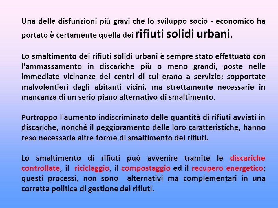 Una delle disfunzioni più gravi che lo sviluppo socio - economico ha portato è certamente quella dei rifiuti solidi urbani.