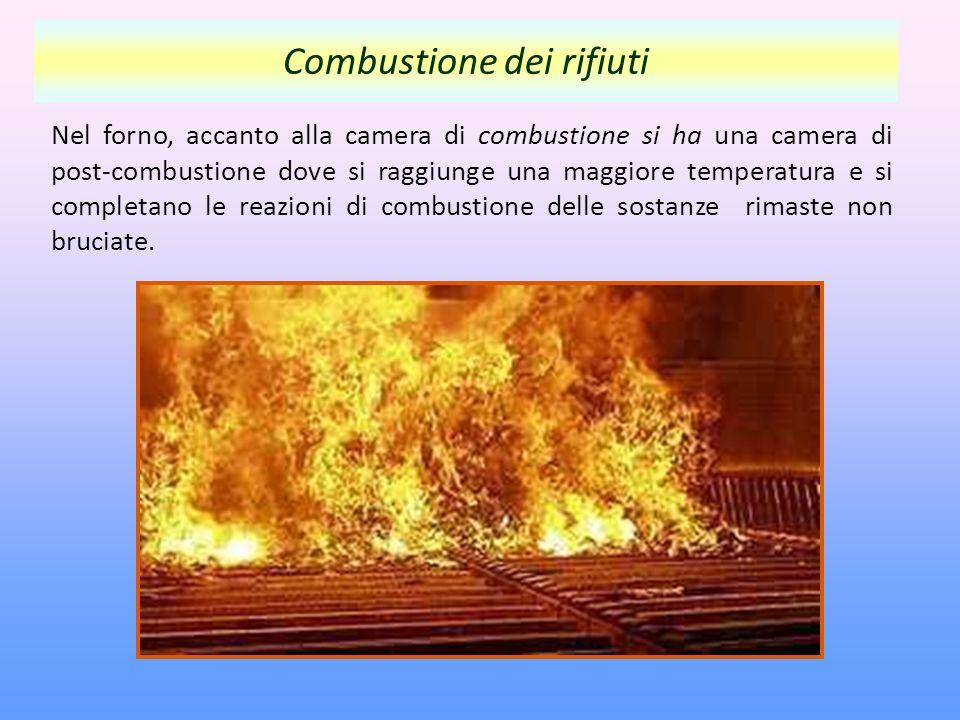 Nel forno, accanto alla camera di combustione si ha una camera di post-combustione dove si raggiunge una maggiore temperatura e si completano le reazioni di combustione delle sostanze rimaste non bruciate.