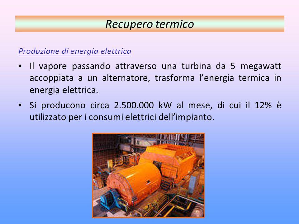 Produzione di energia elettrica Il vapore passando attraverso una turbina da 5 megawatt accoppiata a un alternatore, trasforma lenergia termica in energia elettrica.