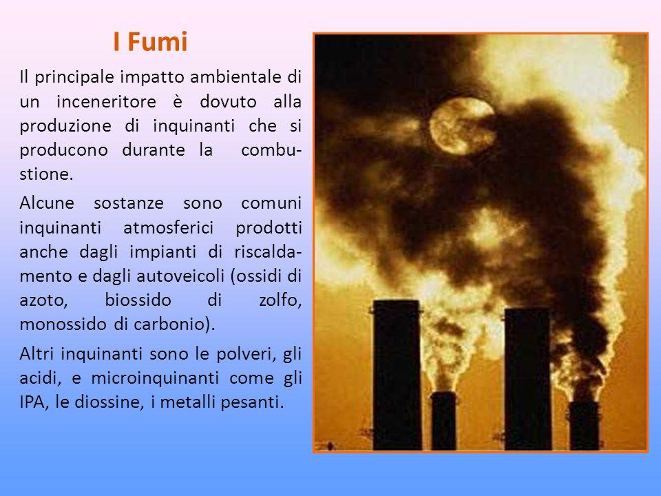 I Fumi Il principale impatto ambientale di un inceneritore è dovuto alla produzione di inquinanti che si producono durante la combu- stione.