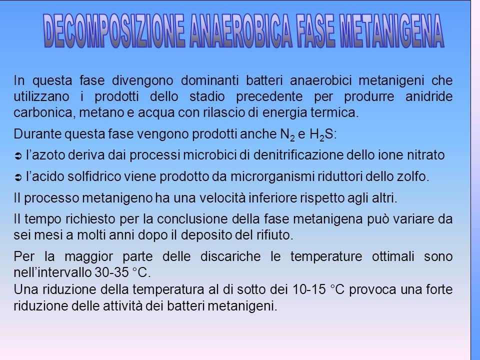 In questa fase divengono dominanti batteri anaerobici metanigeni che utilizzano i prodotti dello stadio precedente per produrre anidride carbonica, metano e acqua con rilascio di energia termica.
