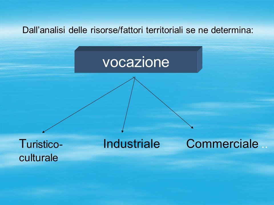 Dallanalisi delle risorse/fattori territoriali se ne determina: vocazione T uristico- culturale IndustrialeCommerciale..