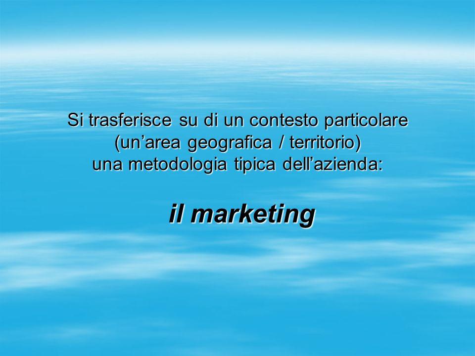 Si trasferisce su di un contesto particolare (unarea geografica / territorio) una metodologia tipica dellazienda: il marketing il marketing