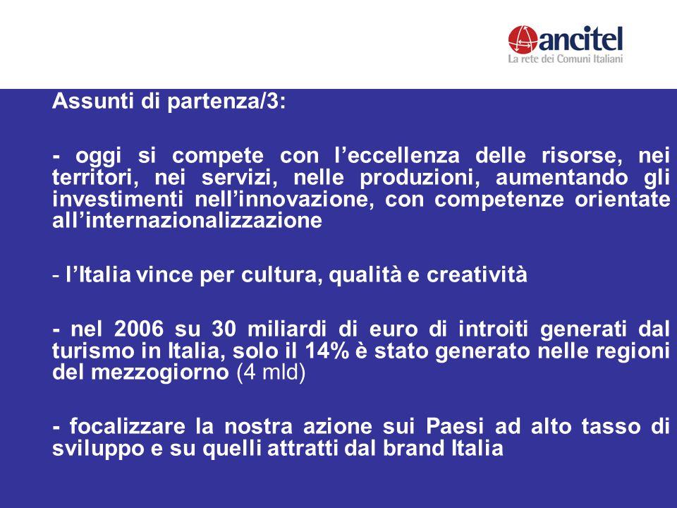 Assunti di partenza/3: - oggi si compete con leccellenza delle risorse, nei territori, nei servizi, nelle produzioni, aumentando gli investimenti nellinnovazione, con competenze orientate allinternazionalizzazione - lItalia vince per cultura, qualità e creatività - nel 2006 su 30 miliardi di euro di introiti generati dal turismo in Italia, solo il 14% è stato generato nelle regioni del mezzogiorno (4 mld) - focalizzare la nostra azione sui Paesi ad alto tasso di sviluppo e su quelli attratti dal brand Italia