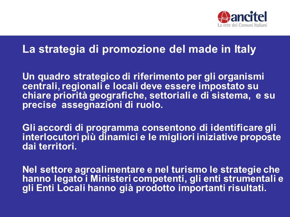 La strategia di promozione del made in Italy Un quadro strategico di riferimento per gli organismi centrali, regionali e locali deve essere impostato su chiare priorità geografiche, settoriali e di sistema, e su precise assegnazioni di ruolo.