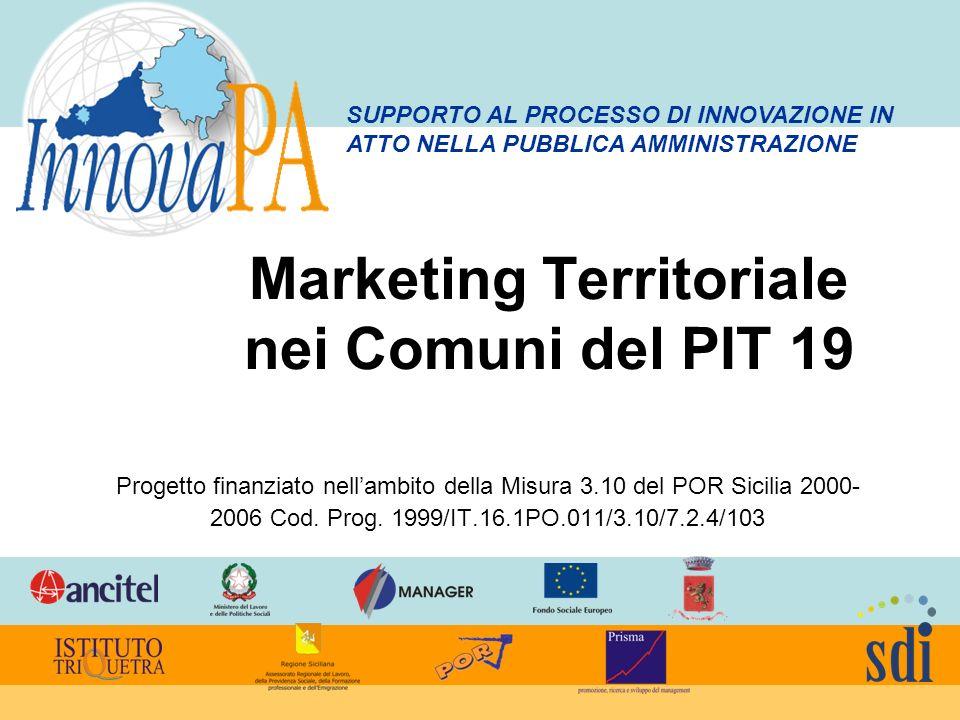 Marketing Territoriale nei Comuni del PIT 19 Progetto finanziato nellambito della Misura 3.10 del POR Sicilia 2000- 2006 Cod. Prog. 1999/IT.16.1PO.011