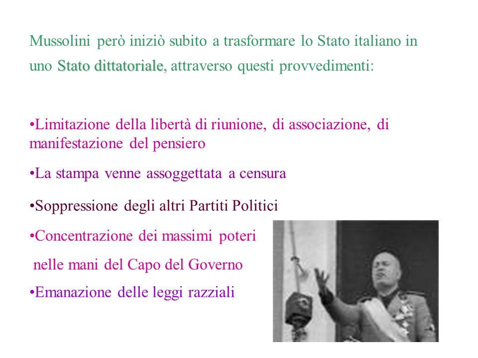 Stato dittatoriale Mussolini però iniziò subito a trasformare lo Stato italiano in uno Stato dittatoriale, attraverso questi provvedimenti: Limitazion