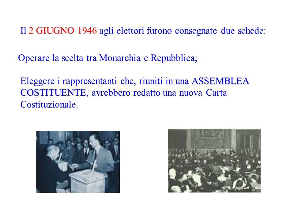 2 GIUGNO 1946 Il 2 GIUGNO 1946 agli elettori furono consegnate due schede: Operare la scelta tra Monarchia e Repubblica; ASSEMBLEA COSTITUENTE Elegger