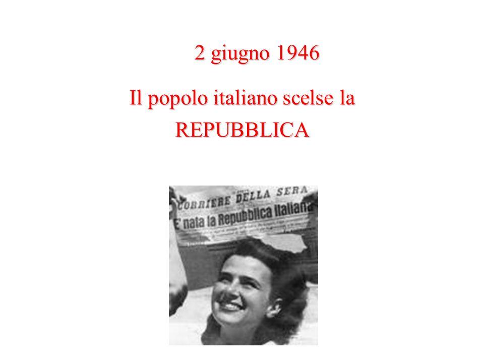 Il popolo italiano scelse la REPUBBLICA 2 giugno 1946