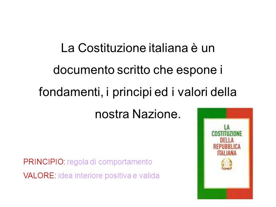 La Costituzione italiana è un documento scritto che espone i fondamenti, i principi ed i valori della nostra Nazione. PRINCIPIO: regola di comportamen