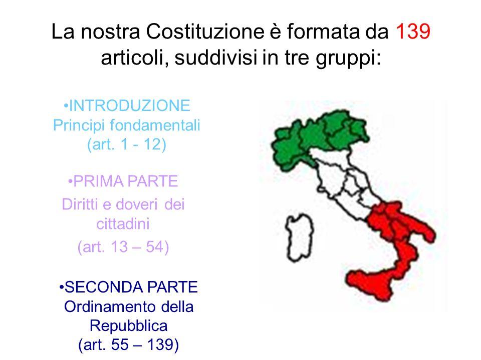 La nostra Costituzione è formata da 139 articoli, suddivisi in tre gruppi: INTRODUZIONE Principi fondamentali (art. 1 - 12) PRIMA PARTE Diritti e dove