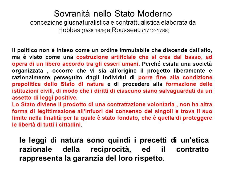 Sovranità nello Stato Moderno concezione giusnaturalistica e contrattualistica elaborata da Hobbes (1588-1679) a Rousseau (1712-1788) il politico non