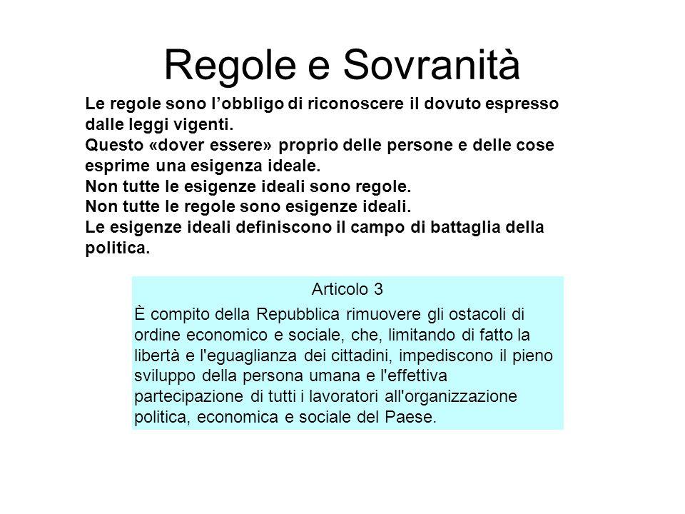 Regole e Sovranità Le regole sono lobbligo di riconoscere il dovuto espresso dalle leggi vigenti. Questo «dover essere» proprio delle persone e delle