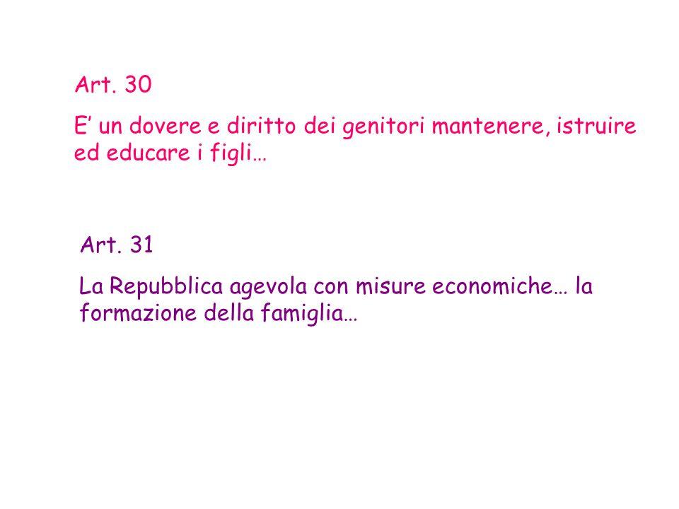 Art. 30 E un dovere e diritto dei genitori mantenere, istruire ed educare i figli… Art. 31 La Repubblica agevola con misure economiche… la formazione