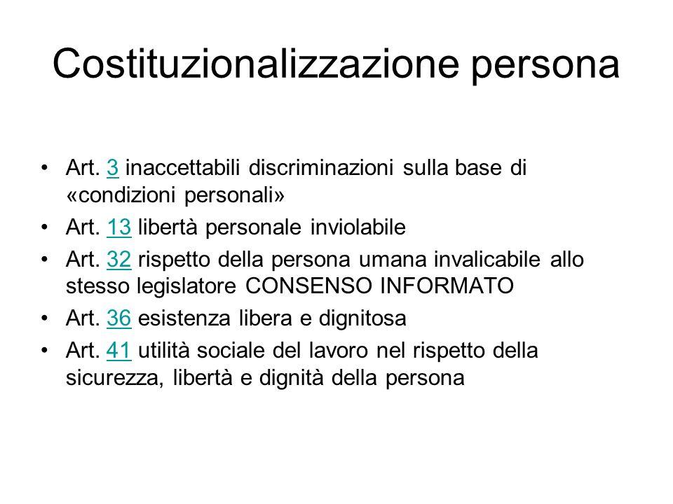 Costituzionalizzazione persona Art. 3 inaccettabili discriminazioni sulla base di «condizioni personali»3 Art. 13 libertà personale inviolabile13 Art.