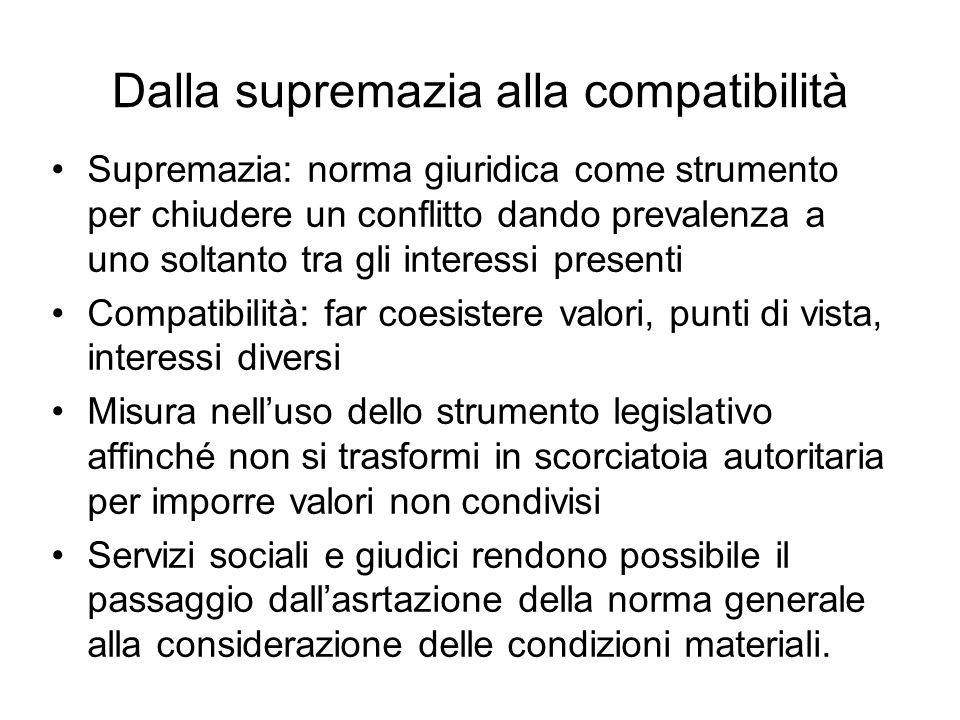 Dalla supremazia alla compatibilità Supremazia: norma giuridica come strumento per chiudere un conflitto dando prevalenza a uno soltanto tra gli inter