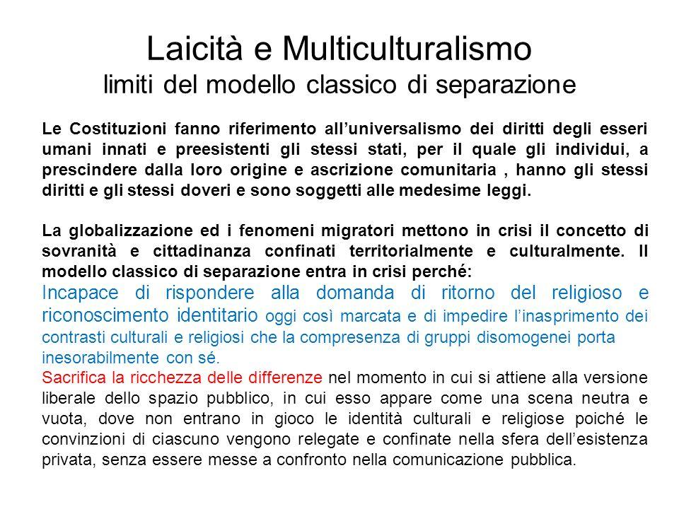 Laicità e Multiculturalismo limiti del modello classico di separazione Le Costituzioni fanno riferimento alluniversalismo dei diritti degli esseri uma