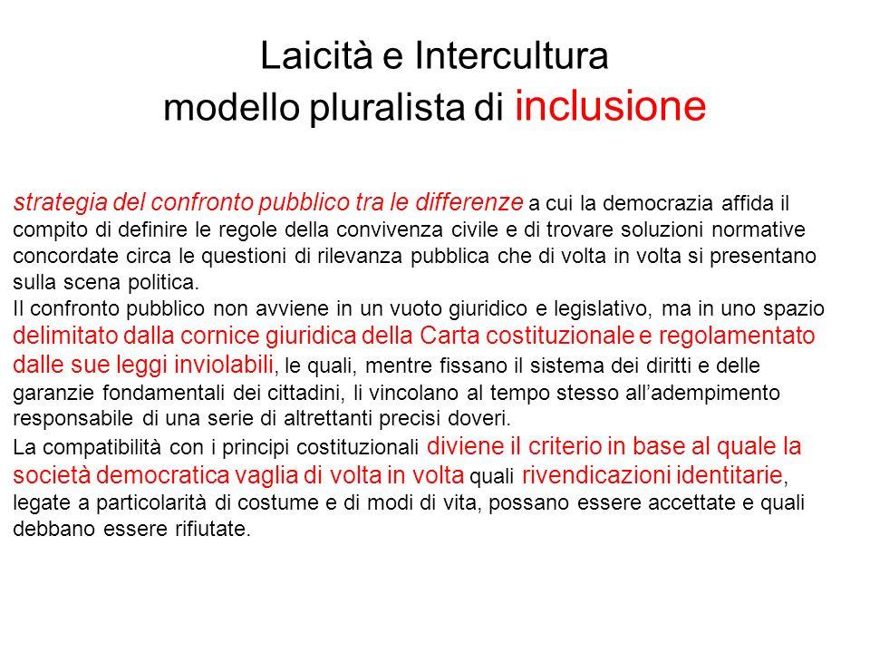 Laicità e Intercultura modello pluralista di inclusione strategia del confronto pubblico tra le differenze a cui la democrazia affida il compito di de