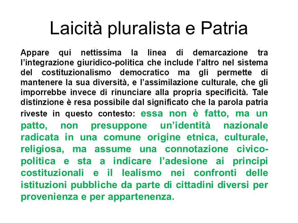 Laicità pluralista e Patria Appare qui nettissima la linea di demarcazione tra lintegrazione giuridico-politica che include laltro nel sistema del cos