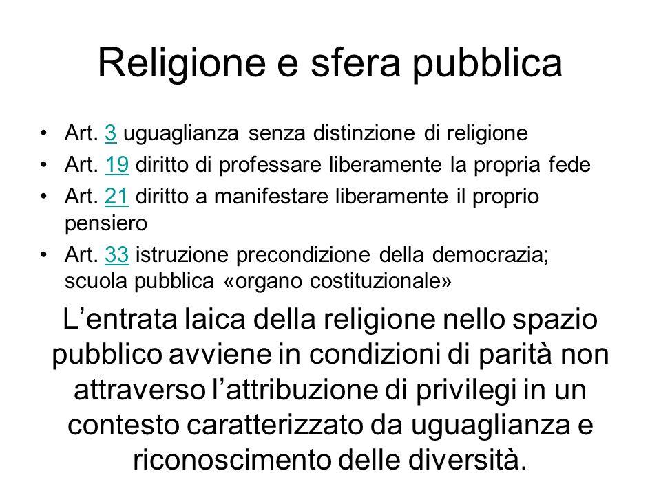 Religione e sfera pubblica Art. 3 uguaglianza senza distinzione di religione3 Art. 19 diritto di professare liberamente la propria fede19 Art. 21 diri