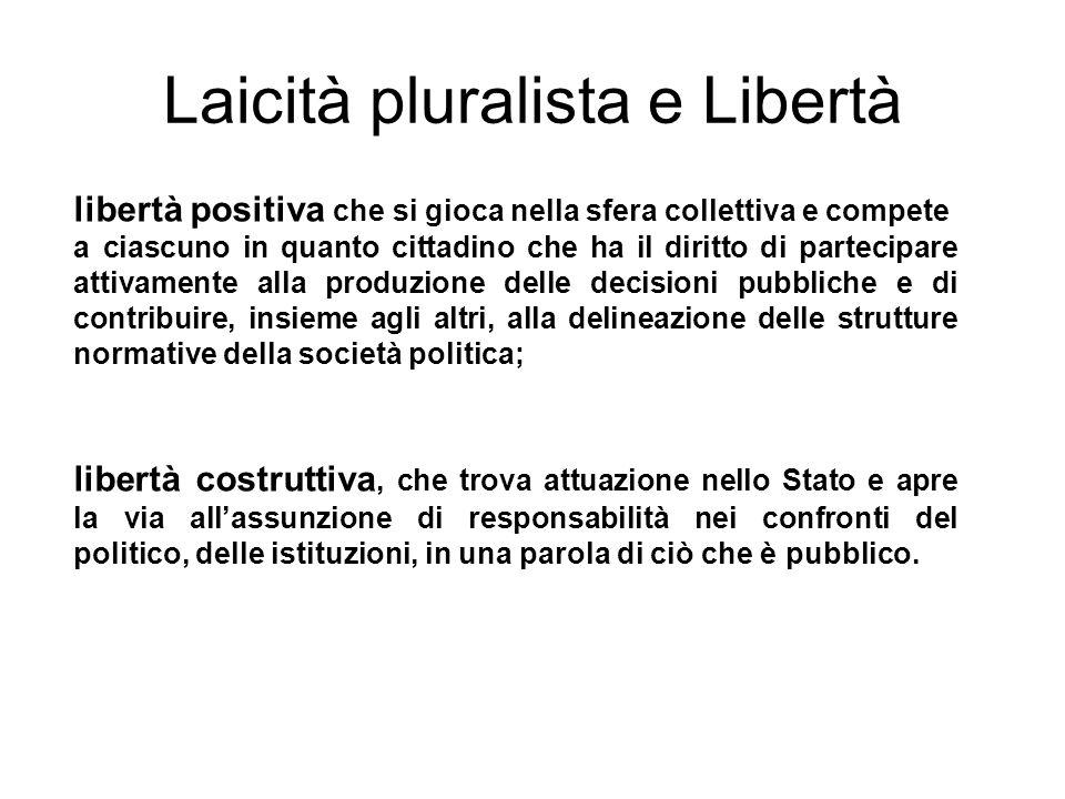 Laicità pluralista e Libertà libertà positiva che si gioca nella sfera collettiva e compete a ciascuno in quanto cittadino che ha il diritto di partec