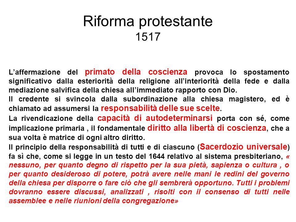 Riforma protestante 1517 Laffermazione del primato della coscienza provoca lo spostamento significativo dalla esteriorità della religione allinteriori