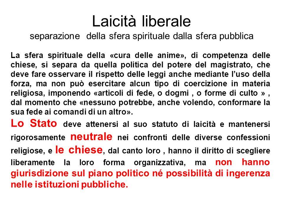 Laicità liberale separazione della sfera spirituale dalla sfera pubblica La sfera spirituale della «cura delle anime», di competenza delle chiese, si