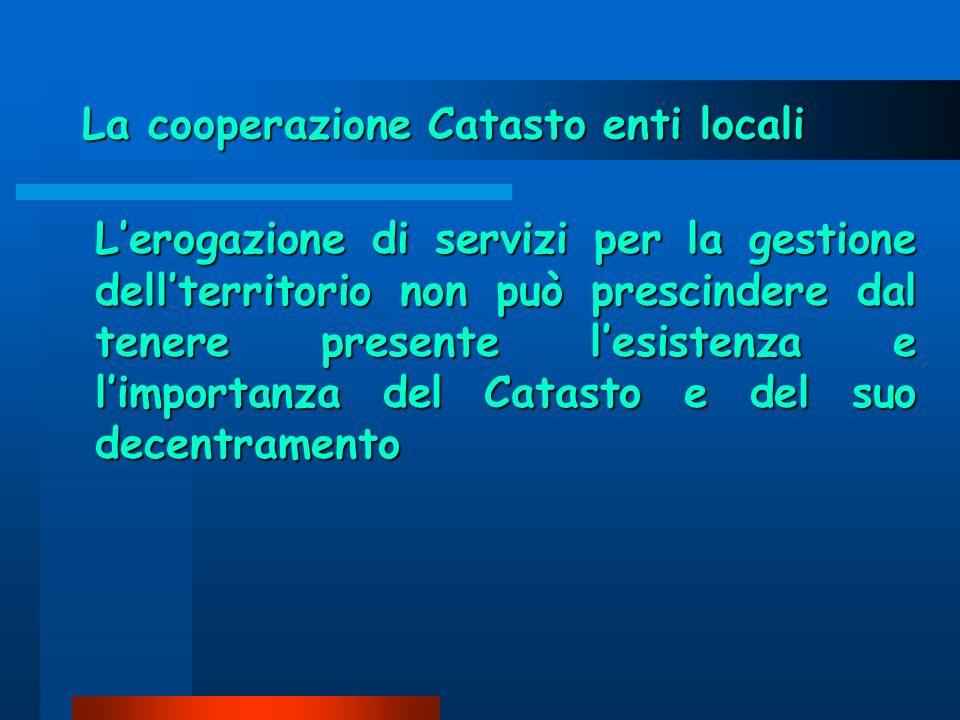 La cooperazione Catasto enti locali Lerogazione di servizi per la gestione dellterritorio non può prescindere dal tenere presente lesistenza e limportanza del Catasto e del suo decentramento