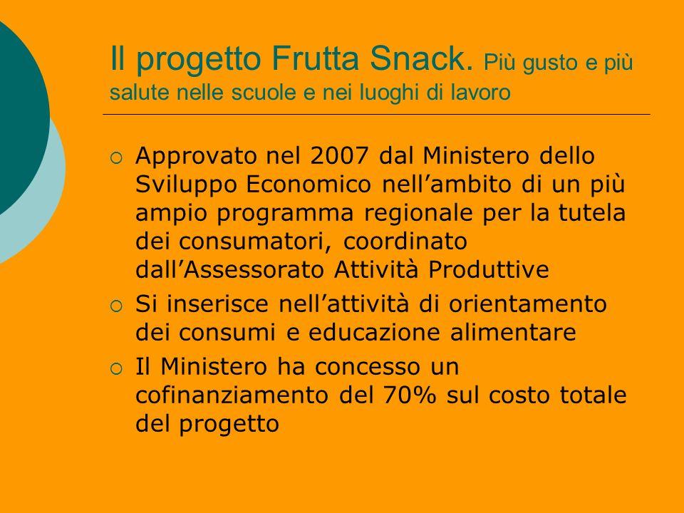Il progetto Frutta Snack. Più gusto e più salute nelle scuole e nei luoghi di lavoro Approvato nel 2007 dal Ministero dello Sviluppo Economico nellamb