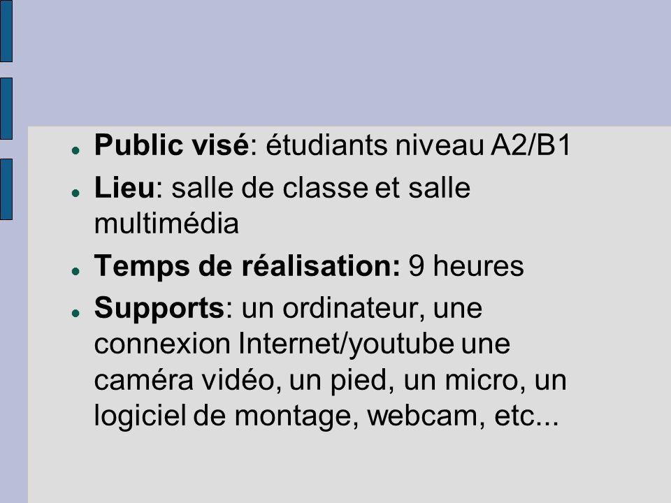 Public visé: étudiants niveau A2/B1 Lieu: salle de classe et salle multimédia Temps de réalisation: 9 heures Supports: un ordinateur, une connexion Internet/youtube une caméra vidéo, un pied, un micro, un logiciel de montage, webcam, etc...
