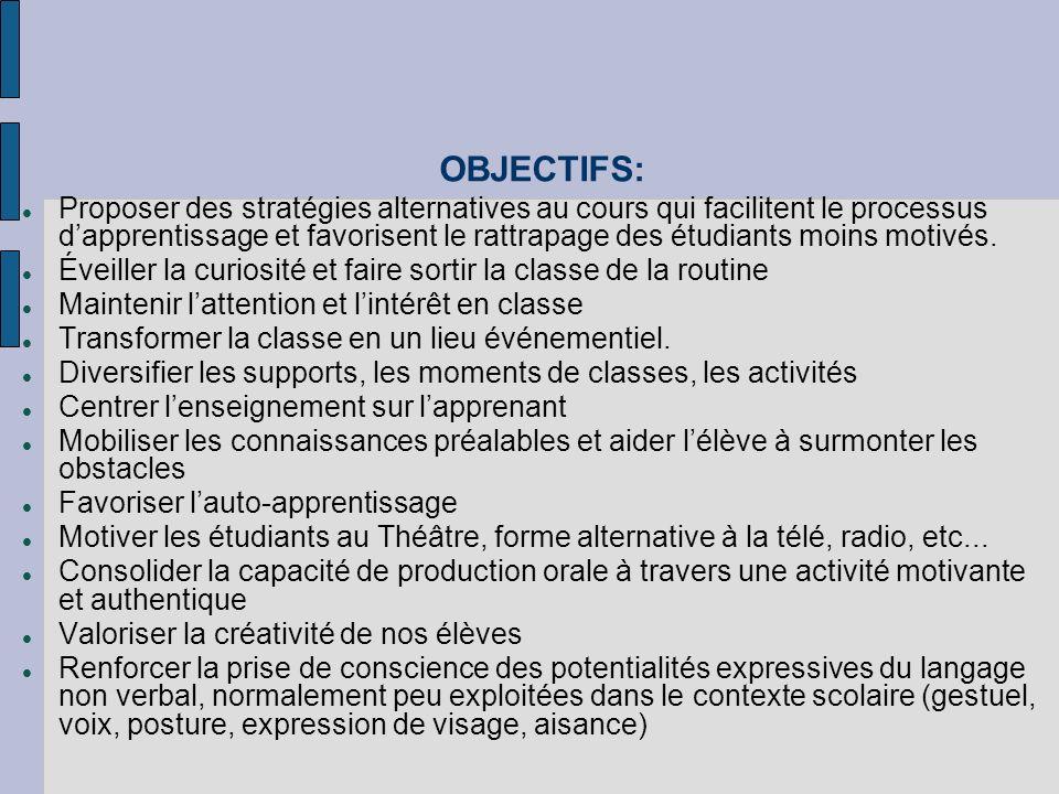 OBJECTIFS: Proposer des stratégies alternatives au cours qui facilitent le processus dapprentissage et favorisent le rattrapage des étudiants moins motivés.