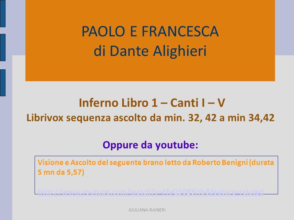 PAOLO E FRANCESCA di Dante Alighieri Inferno Libro 1 – Canti I – V Librivox sequenza ascolto da min.